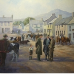 Irish cattle dealers and young boy at market in Carlingford Co Louth