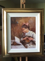 Traditional Irish Art by Hamilton Sloan of young girl knitting and reading