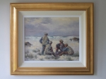 oil painting by Hamilton Sloan of curragh men on the beach