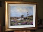 Framed Hamilton Sloan oil painting of man rescuing sheep with boy watching